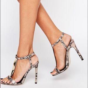 ASOS Ankle Strap Snakeskin Sandal Heel
